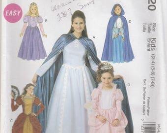Girls Princess Dress & Cloak Pattern McCalls MP255 6420 Sizes 3 - 8 Uncut