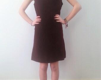 Vintage 1960s velvet dress, velvet party dress, burgundy velvet, maroon dress , size small