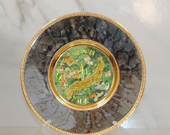 """Vintage Japanese Art of Chokin Plate, 24K gold, Island of Japan in Gold Gilt, Green and Grey, Collector's Plate, Souvenir Plate, 8"""" Plate"""