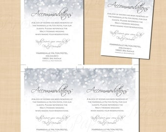 Silver Shimmer Accommodations Wedding Invitation Insert (3.5x5, Portrait): Text-Editable in Microsoft® Word, Printable Instant Download