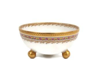 Vintage Limoges Footed Bowl Sauce Dish Haviland France Encrusted Gold Floral Trim Hand Painted Gold Leaf