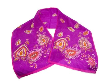 Vintage Oscar de la Renta Silk Scarf Purple Floral Paisley Neckwear Hand Rolled Edges Magenta Shawl Designer Scarf Neck Tie Ponytail