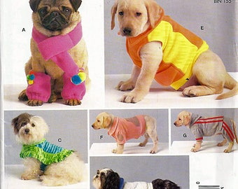 Dog Coats, Scarf and Leg Warmers / Original McCall's Uncut Sewing Pattern M9254