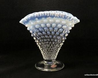 Fenton 3957 French Opalescent Hobnail Fan Vase with Label - Vintage 1950s Fenton Glass