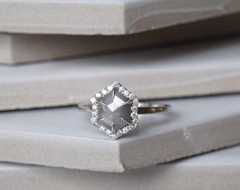 Grey Hexagon Halo Diamond Engagement Ring, 14k White Gold