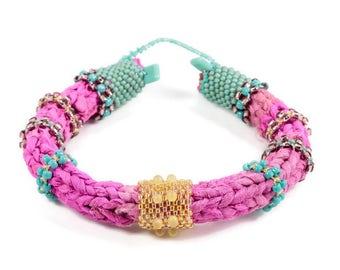 Beaded Textile Jewelry, Unique Fiber Bracelets, Textile Bracelets, Bohemian Tribal Bracelets, Unique Bracelets, Ethnic Tribal Bracelets