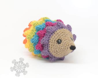 Rainbow Hedgehog Stuffed Animal, Hand Crocheted Hedgie, Simple Toy