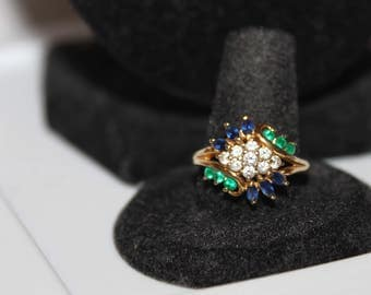 Vintage Sterling & Multistone CZ Ring- Faux Emerald and Sapphire