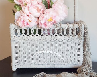 Vintage Wicker Magazine Holder French Floral Garland Appliques Paris Grey Old White Romantic Cottage Shabby Chic French Farmhouse Style