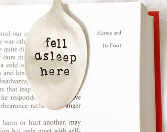 Gift ideas for book lovers. Spoon Bookmark, Fell Asleep Here. Silverware Bookmarks for Bookworm Present.