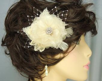 Bridal Hair Clip, Champagne Fascinator, Organza Bridal Clip, REX14-150
