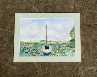 1980s Seascape Painting of a Sailing Boat Signed Original Art Framed Watercolor Wall Hanging Home Decor