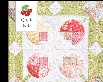 25% Off Sale Strawberry Fields Flower Patch Quilt Kit - One Quilt Kit - Flower Patch Quilt Pattern - Strawberry Fields Revisited Fabric