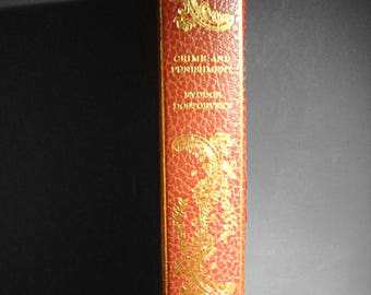 Crime and Punishment by Fyodor Dostoevsky - International Collectors Library - Red Decor Book Hardcover Gold Gilt Collectible