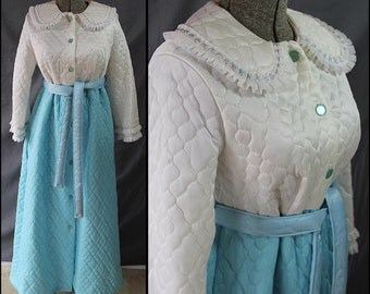 Quilted Robe Blue White Embellished Gift for Her G C Lingerie