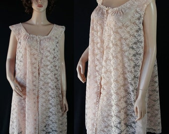 40%OFFSALE Blanche Robe Lace Pale Pink Rhinestone Button Pin Up Lingerie