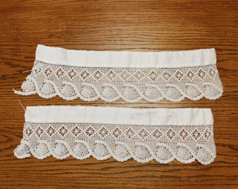 Antique crochet pillowcase edging- Two pieces Hand made vintage- Ecru/ ivory- Wide edging Trim for pillowcase or other repurpose use