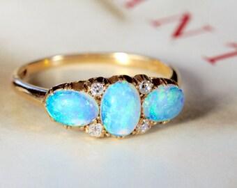 Victorian Opal Diamond Engagement Ring, Antique Georgian Diamond Opal Ring, Edwardian 18k Gold Engagement Ring, Alternative Engagement Ring