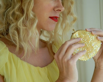 Vintage yellow coin purse, sequins, beading, 1950s