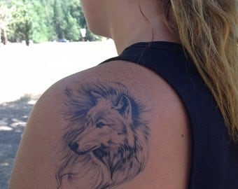 Wolf Temporary Tattoo - Wolf Tattoo - Arctic Wolf - Temporary Tattoo - Nature Tattoo - Wolf Art - Winter Tattoo