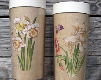 Vintage Thermo-Serv Floral Tumblers - Pair of Insulated Plastic Tumblers - 1982 Garden Glories 12 oz. Thermal Beverage Glasses