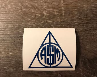 Deathly Hallows Symbol Monogram Decal, Harry Potter, Hogwarts, Yeti Decal, Car Monogram Decal, Vinyl Monogram iPhone Sticker, Laptop Sticker