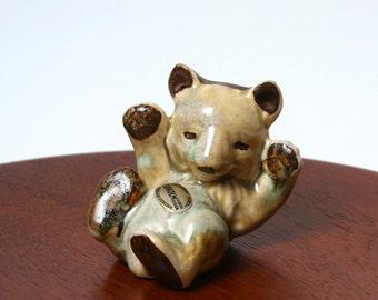 Vintage Soholm Pottery bear figurine, Joseph Simon Danish studio pottery 1970s, Scandinavian modern bear ornament, retro desk decor ceramics
