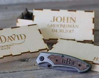 Groomsmen Gift Engraved Knife Personalized Pocket Knife Custom Groomsmen Knife Box ANY QUANTITY