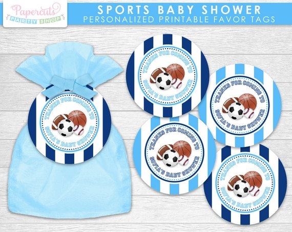all star sports theme baby shower favor tags blue personalized