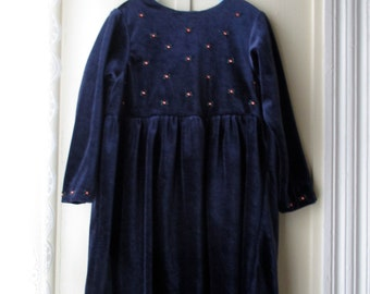 Vintage Laura Ashley velveteen dress with embroidered flowers / Deep navy blue dress / Toddler Size 3
