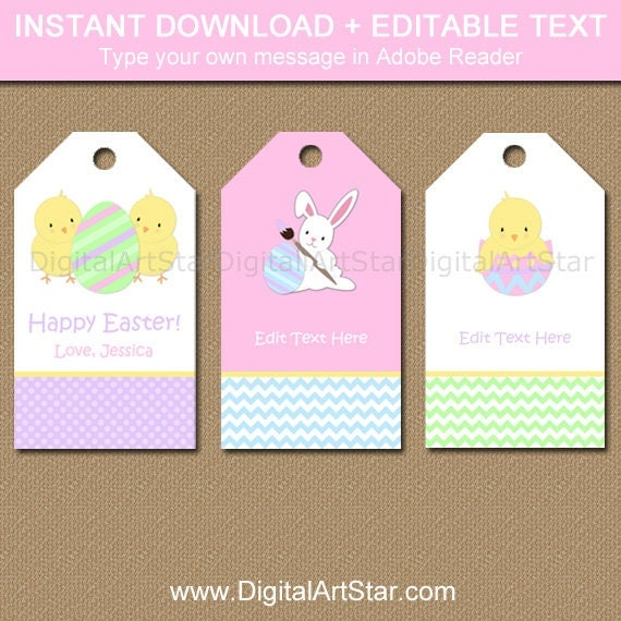 Easter tags easter gift tags easter bunny tags kids easter tags easter gift tags easter bunny tags kids easter idea printable hang tags editable tags instant download easter party negle