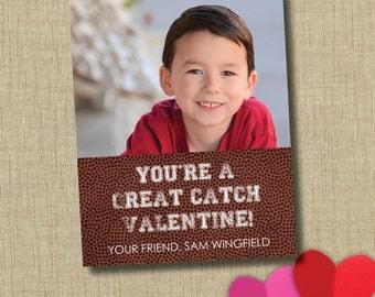 Football valentine. School Valentine cards. Photo valentine
