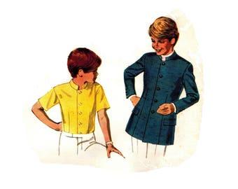 McCalls 9484 ORIGINAL Vintage 1960s Boys (Mens) Nehru Jacket or Shirt Sewing Pattern - Absolutely Fab - Size 8 boys 1968