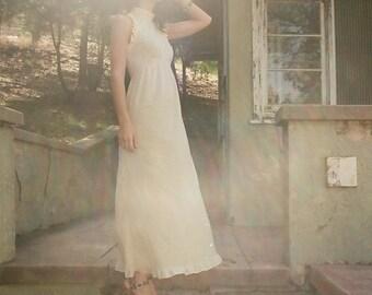 SALE- Vintage 70s Buttercream Maxi Dress - Open back- Ruffle detail