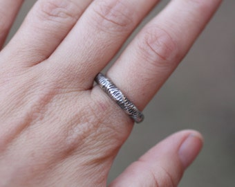 Textured Silver Stacking Ring, Cast Silver Ring, Rustic Silver Ring, Size 8 Ring, Alternative Wedding Band