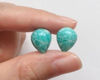 Mozambique Amazonite Upside Down Half Drilled Acorn Inverted Teardrops 10x12 mm One Pair G6993