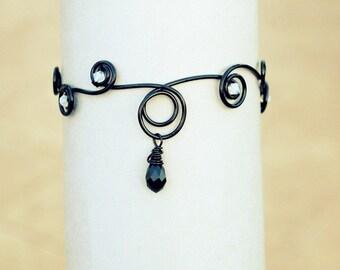 Black Wire Arm cuff ~ Gothic jewelry