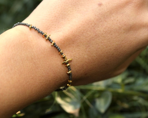Beaded Bracelet. Delicate Black and Gold Stacking Bracelet. Tiny beads in 22k Gold Vermeil or Pure Silver. B-1916-2