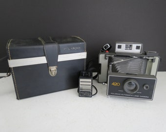 Polaroid 420 Land Camera // Vintage UNTESTED Unfolding Instant Film Camera Photographer Gift Photo Shoot Prop Industrial Decor