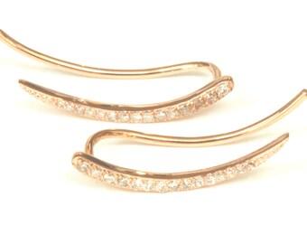 Solid Gold Ear Climbers, Pave Diamond Ear Crawler Earrings, 14K Ear Sweeps Curved Bars, Artisan Handmade by Sheri Beryl