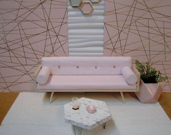 """1/6 scale Hexagonal coffee table in faux stone with hairpin legs in white """"Marble"""""""