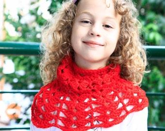 Girls cowl scarf, girls tube scarf, girls capelet, cowl 6Y - 8Y girls, girls cowl, girls snood, girls red cowl, crochet cowl, ready to ship