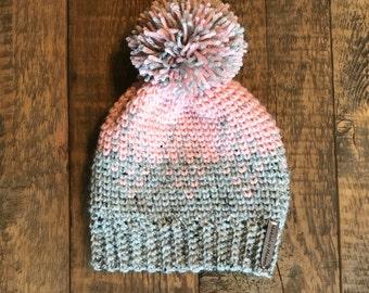 Children's Pom Hat, Girls Pom Hat, Crochet Beanie, Kids Winter Hat, MADE TO ORDER