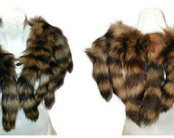 DEADSTOCK Vintage Fur Shawl Fur Wrap Fur Tail Stole Raccoon? Unworn Boho Fur Cape made of tails NWOT