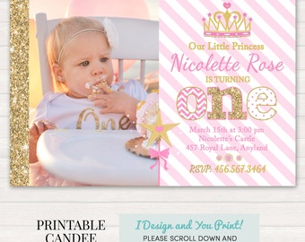 Princess Birthday Invitation, Pink and Gold Princess Invitation, Princess 1st Birthday,  Pink and Gold Glitter Birthday,  DIY Printable