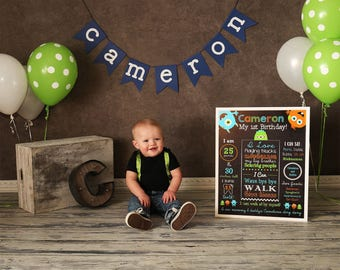 Monster First Birthday Chalkboard Sign - Monster Birthday Sign - Milestone Sign - Printable Stats Sign - 1st Birthday Custom Board