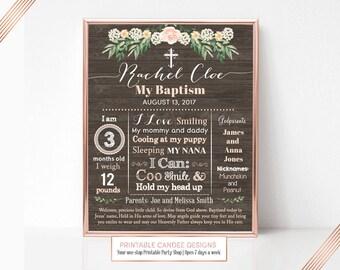 Floral Rustic Baptism Chalkboard Sign, Baptism Milestone Sign, Baptism Decor, Baptism Prop, Christening Photo Pro, Printable Sign