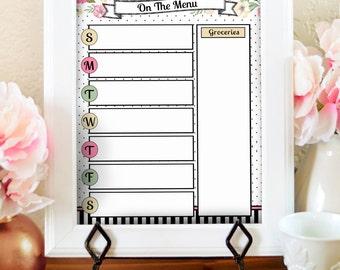 Floral Menu Planner - Kitchen Menu Board - Dry Erase Menu - Printable Menu Planner - Meal Plan Printable - Watercolor Kitchen Print -