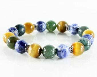 Stretch Gemstone Bracelet, multi stone bracelet, Sodalite, Golden Eye, Moss Agate, silver, semi-precious, natural stones,Stackable,gift,3218