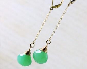 Chrysoprase Earrings, Goldfilled wire wrap, mint green gemstone, fine gold earrings, dangle chain earrings, gift for her, ER04188